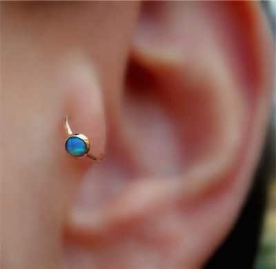 Blue Opal Tragus Earring Hoop