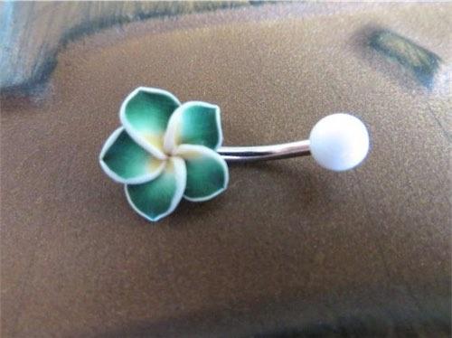 Green Hawaiian Flower Plumeria Belly Button Ring