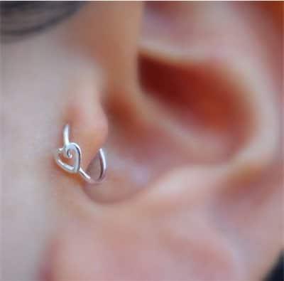 Silver Heart Tragus Piercing
