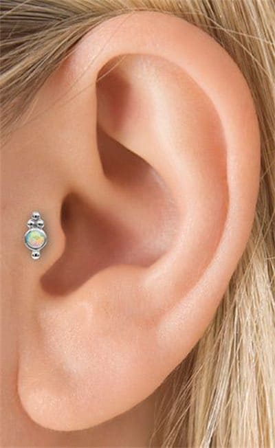 Opal Four Ball Trinity Tragus Threaded Stud