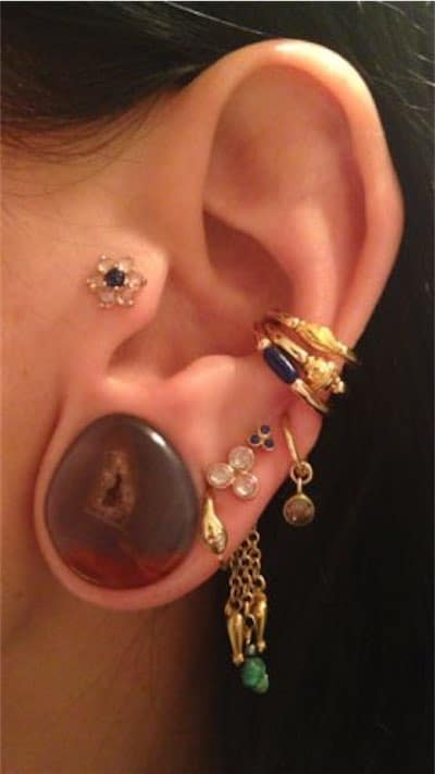 Tragus Lobe Flower Piercing