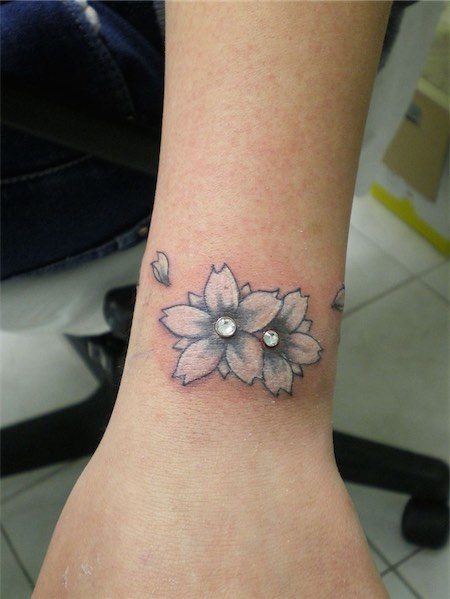 Flower Tattoo Dermal Piercing