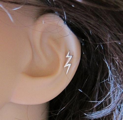 Sterling Silver Lightning Bolt Helix Earring