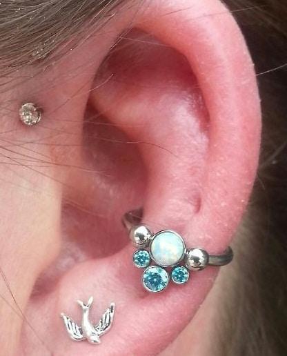 Blue Gems Conch Piercing