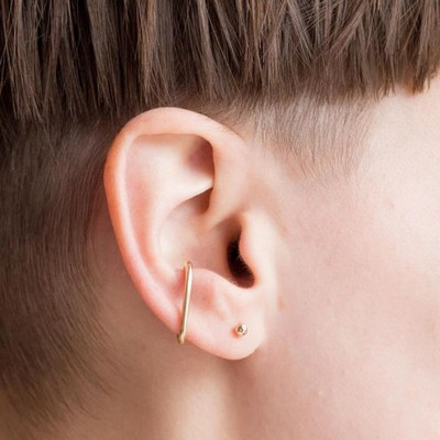 Cross And Circular Outer Conch Piercing