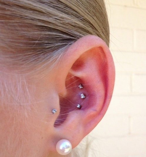 Triple Conch Piercing with Pearl Lobe