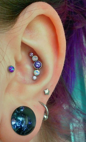 Violet-Inspired Conch Piercing