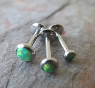 Green Fire Opal Medusa Piercing