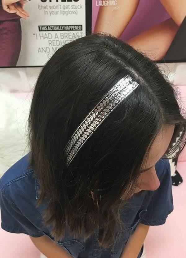 Hair tattoo silver