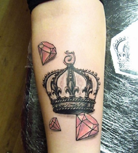 crown with diamond tattoo