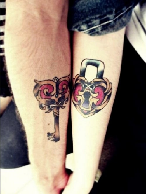 Lock and Key Cute Couples Tattoos