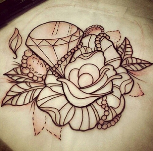 no-color-rose-and-diamond-tattoo