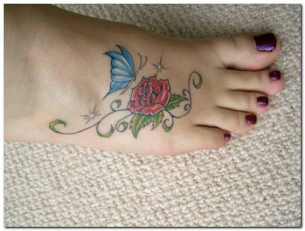 Rose Tattoo For Foot