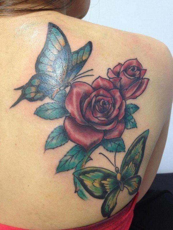 Rose Tattoos And Butterflies
