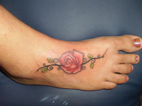 Rose Tattoos On Foot