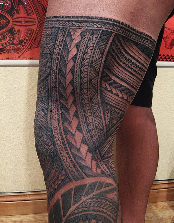 samoa leg tattoo