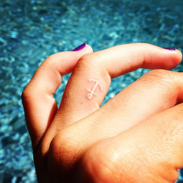 Anchor Finger Tattoo