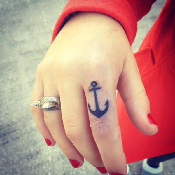 Anchor Tattoo On Finger