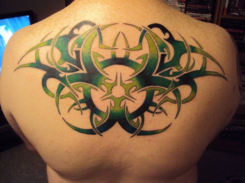 Back Green and Black Tribal Tattoos