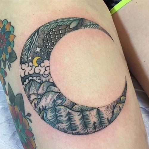 Forest Design Moon Tattoos