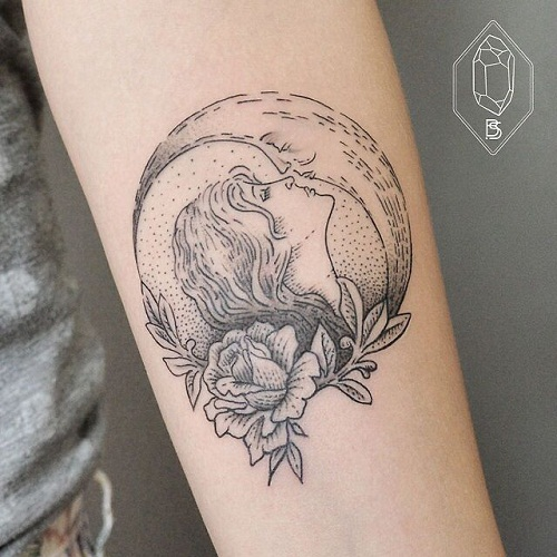 Girl Kissing the Moon Tattoos