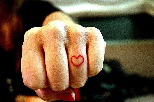 Heart Tattoo On Finger