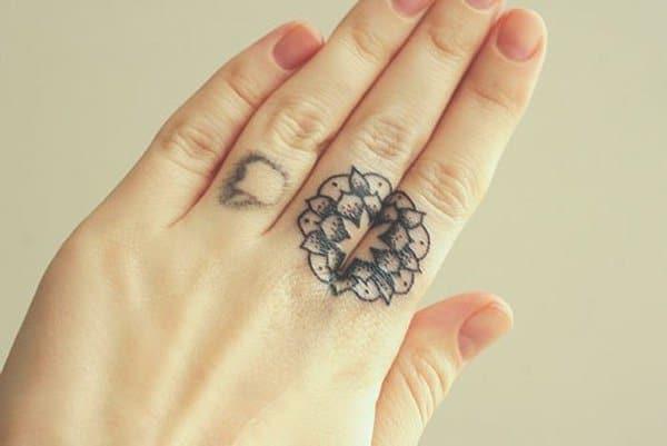 Mandala Tattoo On Finger