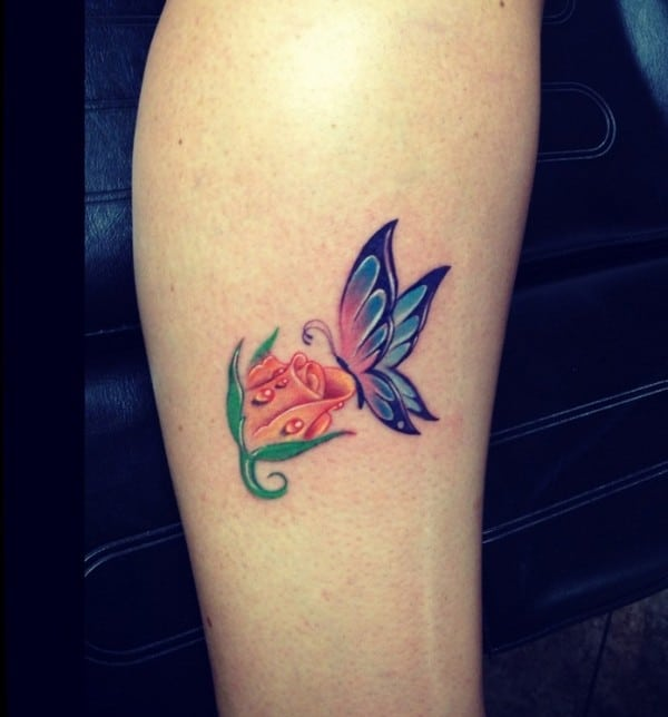 Rose Tattoo With Butterfly