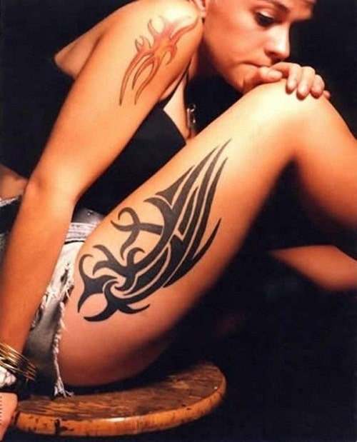 Sexy Thigh and Leg Tribal Tattoos