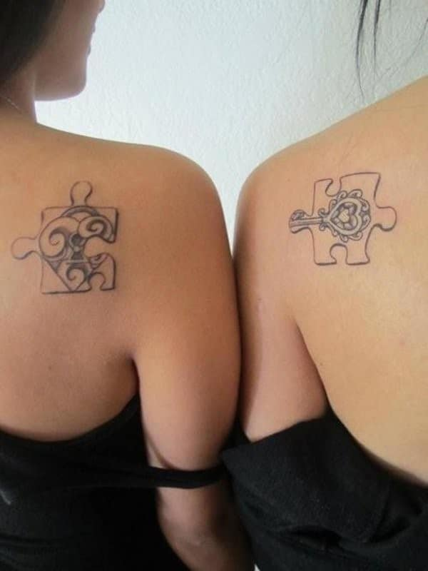 Interlocking Puzzle Pieces Matching Tattoos