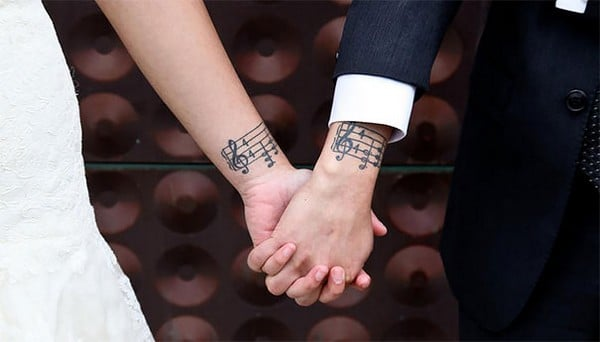 Musical Notes Matching Tattoo