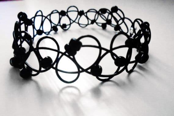 Black Beaded Tattoo Choker or Bracelet