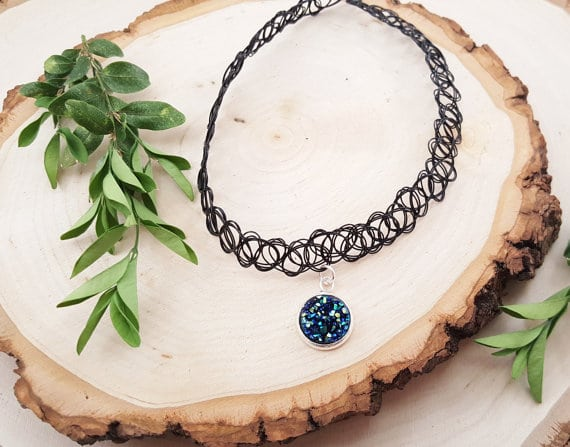 Blue Druzy Tattoo Choker