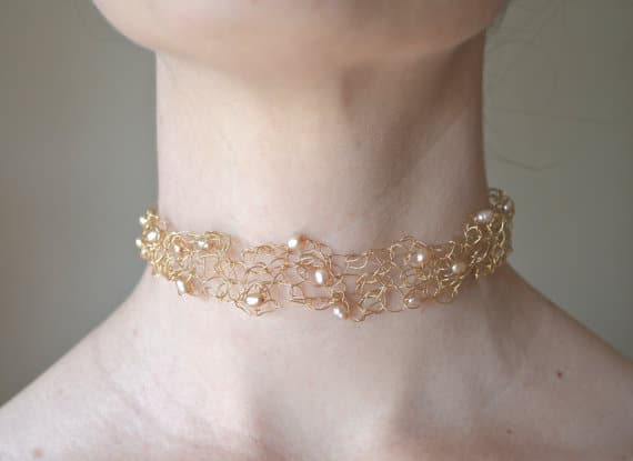 Elegant Lacy Choker with Baroque Pale Peach Pearls