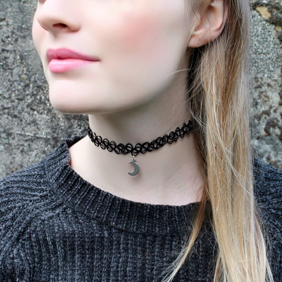 Silver Crescent Moon Black Tattoo Choker