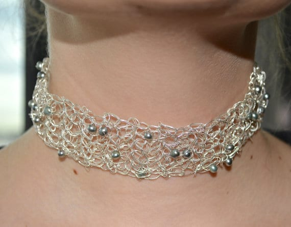 Tattoo Choker with Baroque Pearls