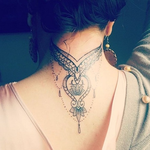 Amazing Neck Tattoo with Mandala Details and Jewels