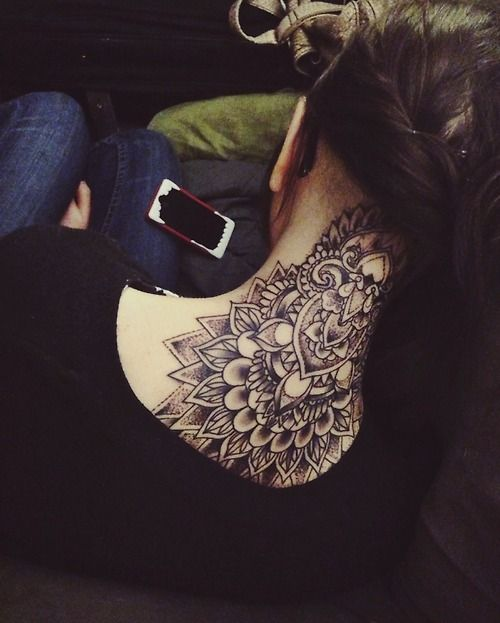 Awesome Tribal Mandala Neck Tattoo