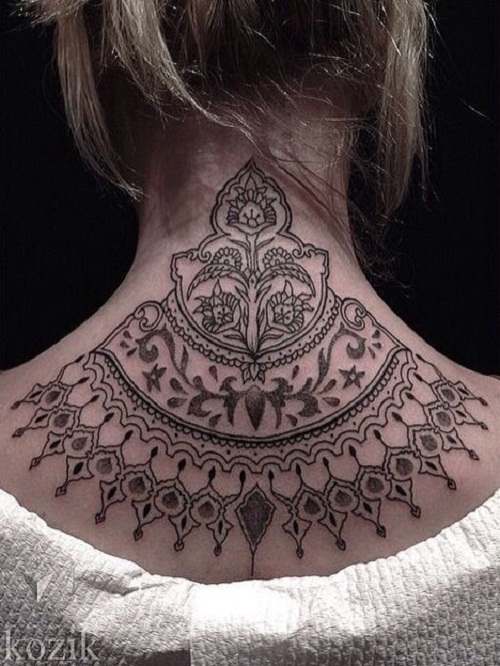 Beautiful Mandala Neck Tattoo