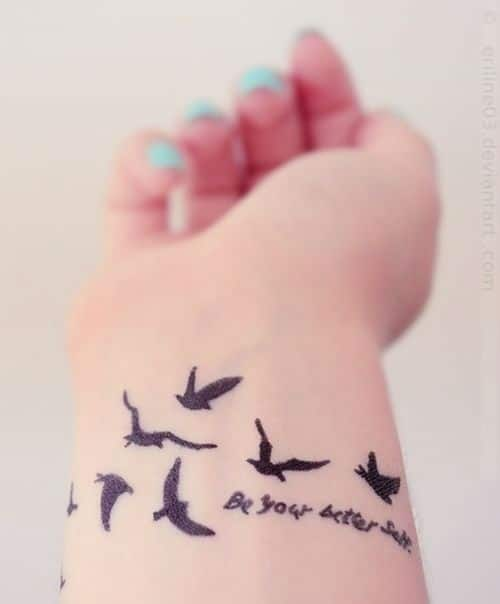 Bird Tattoo with Quote to be your Better Self
