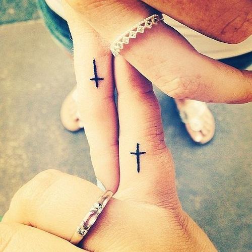 Cross on Fingers Friendship Tattoos