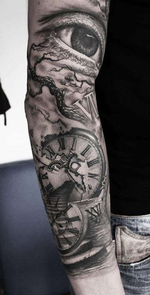 Dramatic Third Eye with Clock and Roman Numerals Tattoos