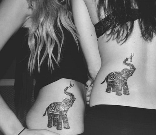 Elephant with Initials on Trunk Friendship Tattoos