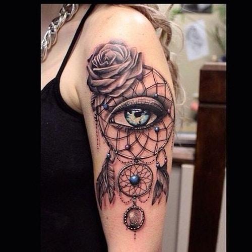 Flower, Dream Catcher and Third Eye Tattoo