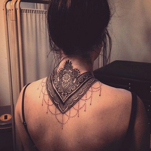 Mandala on Back Neck Tattoo Inspiration
