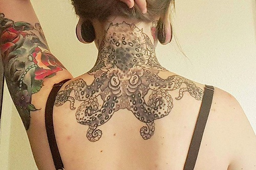 Octopus on Neck Tattoo