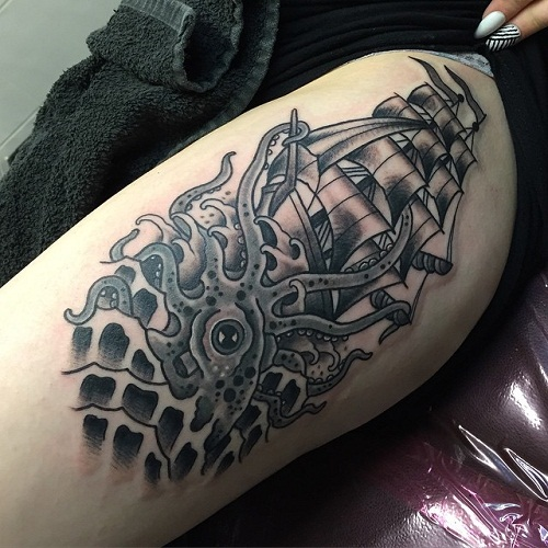 Octopus with Ship Tattoo