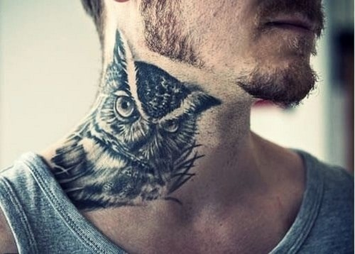 Owl on Neck Tattoo