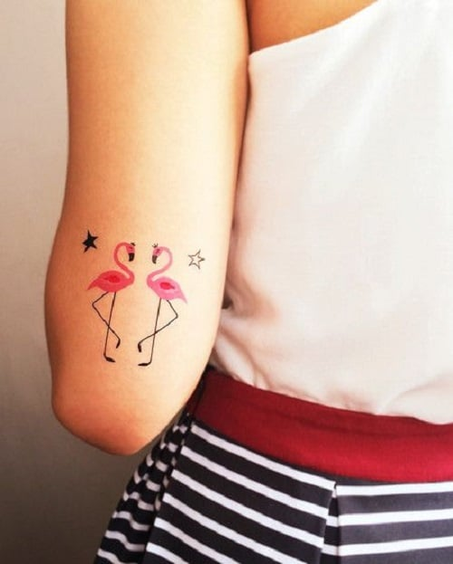 Pink Flamingo Bird Tattoos with Stars