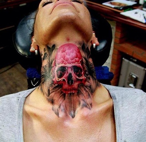 Pink Skull on Neck Tattoo